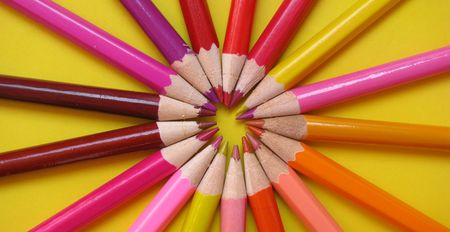 immaculate: circle made of pencils Stock Photo