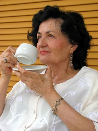 mature woman drink coffe Stock Photo - 3645914