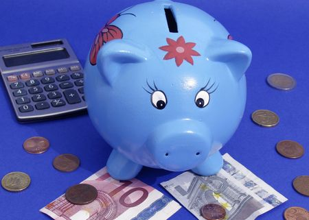 blue piggy bank Stock Photo - 3863897
