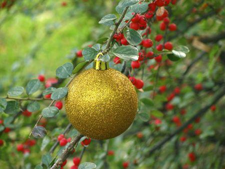 tinsel: gold ball Stock Photo