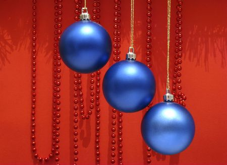 tinsel: blue decoration for Christmas tree Stock Photo