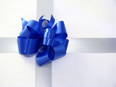 blue ribbon on gift box Stock Photo
