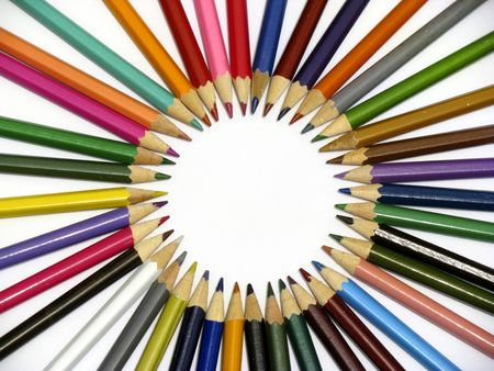 immaculate: circle made of colored pencils