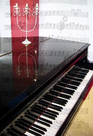 piano and notes over photo