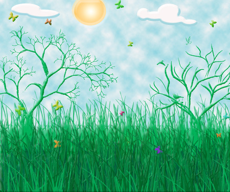 3d summer day background Stock Vector - 4658771