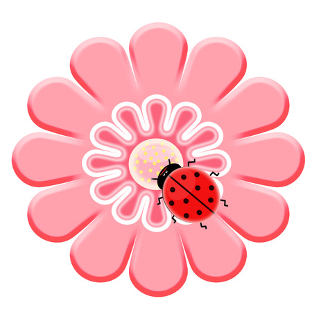 small insect: 2d flower and ladybug on it
