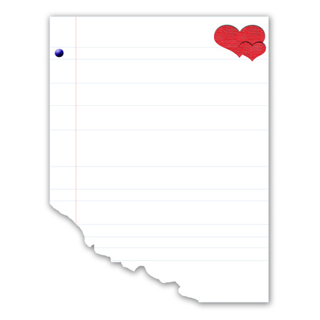 organized: blank notepaper with heart shape Illustration