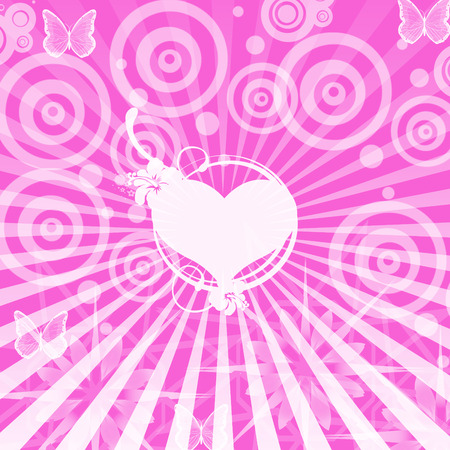 Lovely romantic pink  background with heart in the middle Vector