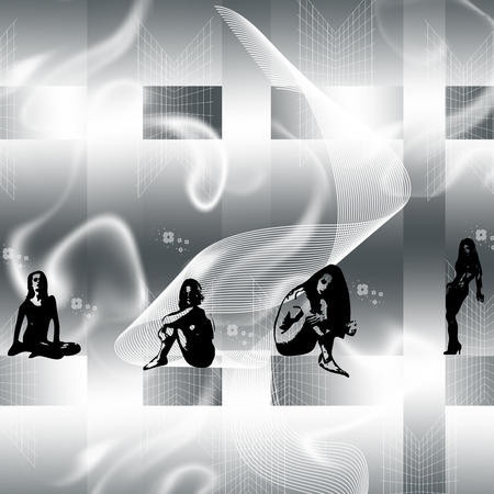 young girls on gray background Vector