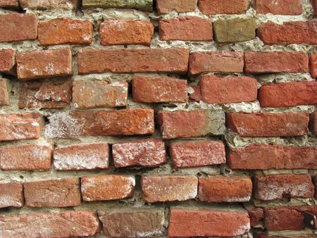 brickwork: Old red brick wall Stock Photo