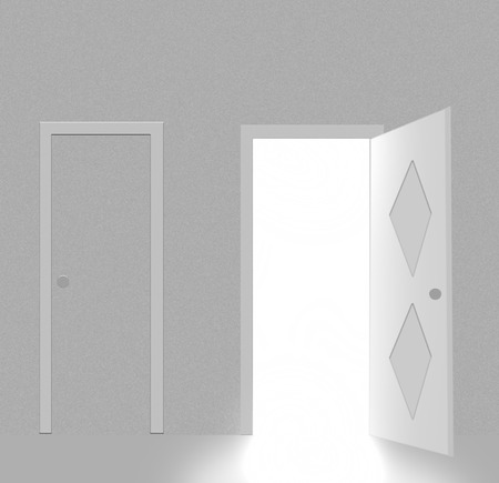 Two doors,one closed and one opened and you can see light from in it Stock Vector - 5733892