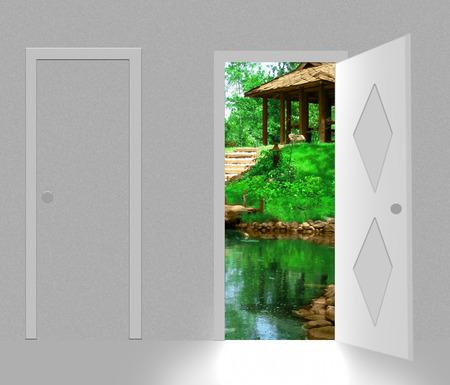 landscape behind open door Stock Vector - 5733891