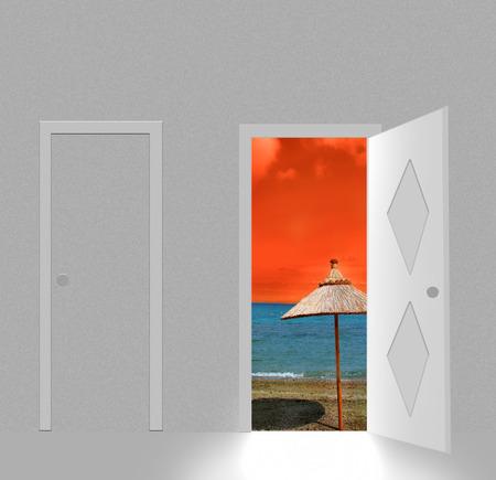 beach behind open door Stock Vector - 5733894