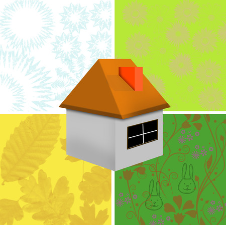 four season and illustration of green house Stock Vector - 5788963