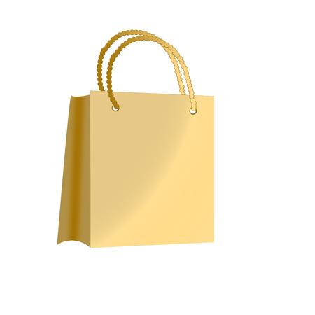 Golden bag for shopping isolated on white background Stock Vector - 5866336