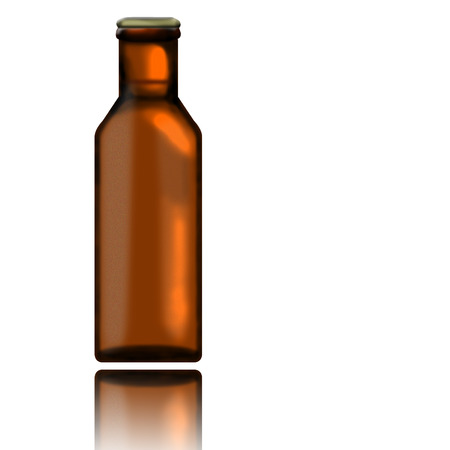 phial: Bottle of beer with its reflection isolated on white background