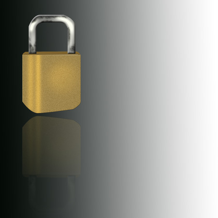 unprotected: Golden lock with its reflection Illustration