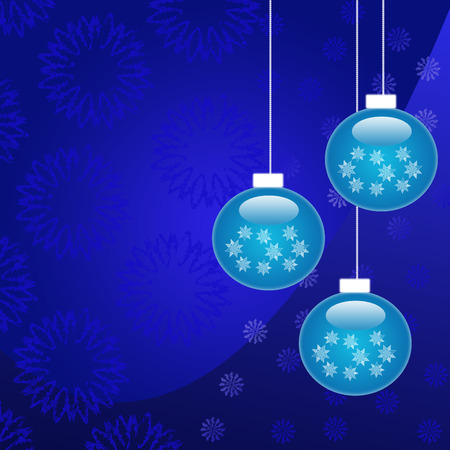 Beautiful blue Christmas decorations on blue background   Vector
