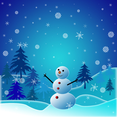 Beautiful winter snowy background with snowman   Vector