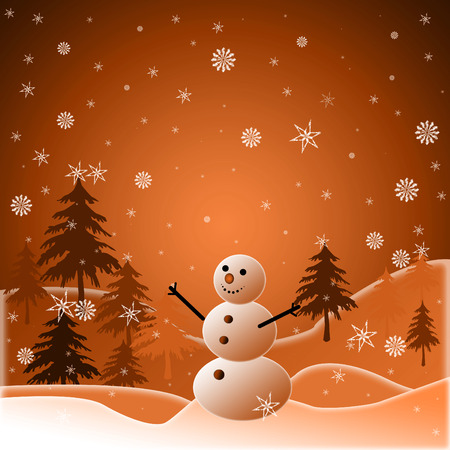 Beautiful winter snowy background with snowman Stock Vector - 5977667