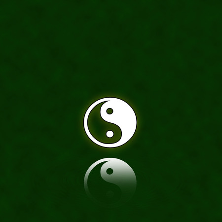 male symbol: Yin Yang and his reflection   Illustration