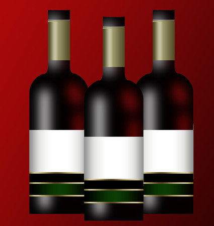 Three wine bottles isolated on red background Vector