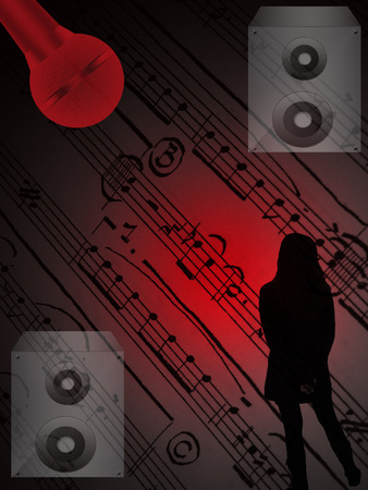 dolby:  silhouette of a girl,silver speaker and red light on notes