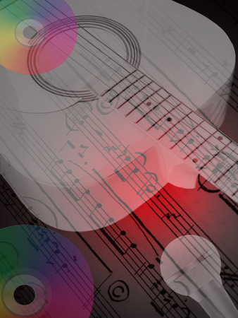 soloist:   Music concept,guitar,microphone ,cd,and notes Illustration
