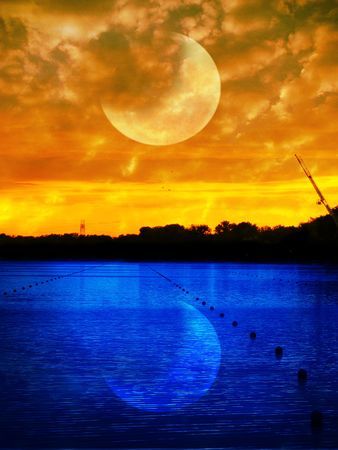 the setting sun: Beautiful sunset and outstanding moon and its reflection