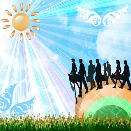 Business people silhouettes walking across a rainbow on a beautiful bright day photo