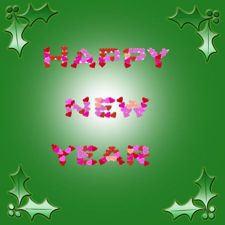 Happy New Year  design made of hearts shapes Stock Photo - 6097596