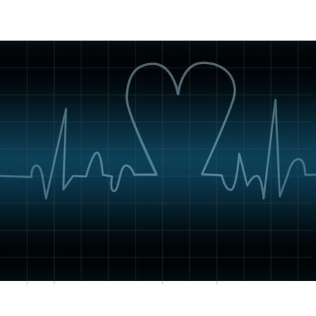 Electrocardiogram with shape of heart photo