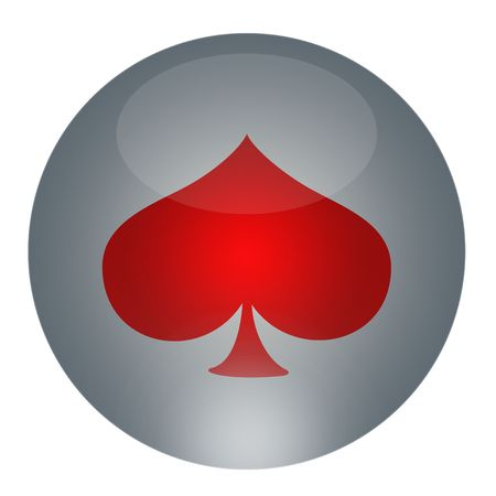 Playing cards symbol placed on the gray glossy button   Stock Photo - 6563795