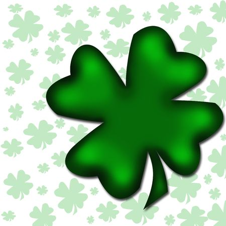 fourleaved: Lucky clover on white background with little lucky clover Stock Photo