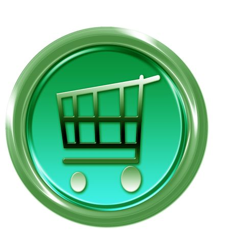 Green button with shopping car Stock Photo - 6595314