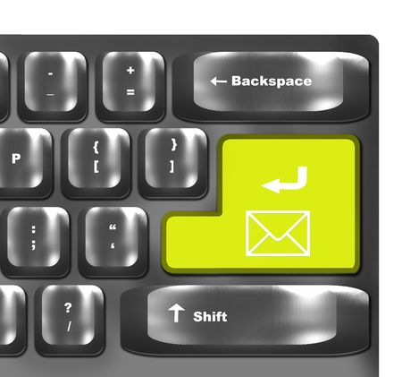 computer keyboard with mail sign  key photo