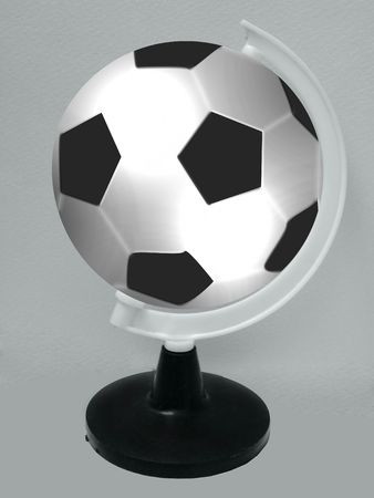 ball like: worldcup concept,Soccer ball like a globe, isolated on white background