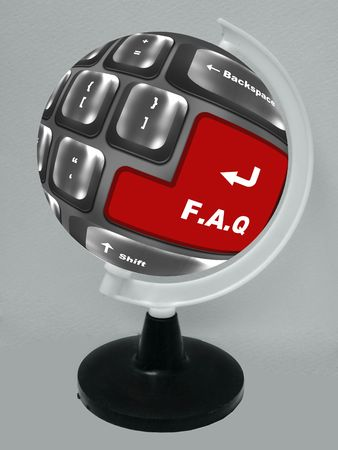f.a.q button showing support or faq concept placed on the globe Stock Photo - 6799420