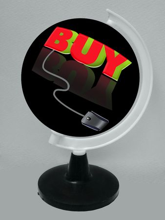 the word buy connected to a computer mouse PLACED ON THE GLOBE Stock Photo - 6851500