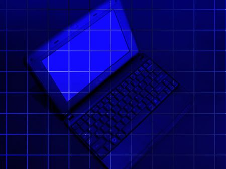 laptop on the blue background with square photo