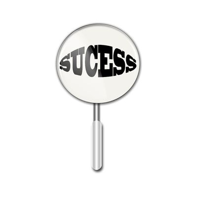 sucess:   Magnifying glass over sucess Stock Photo