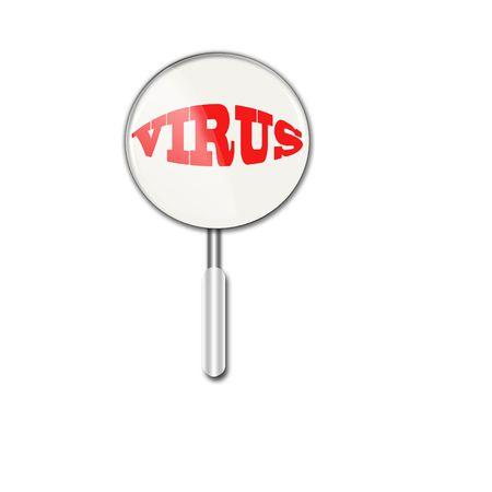 intruder:   Magnifying glass over virus