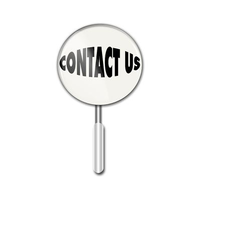 Magnifying glass over contact us photo