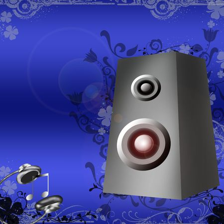 subwoofer: headphones and dolby on blue  grunge backgrouns Stock Photo