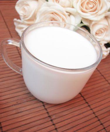 milk and rose Stock Photo - 7339762