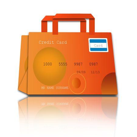 visa credit card: shopping bag made of credit cards