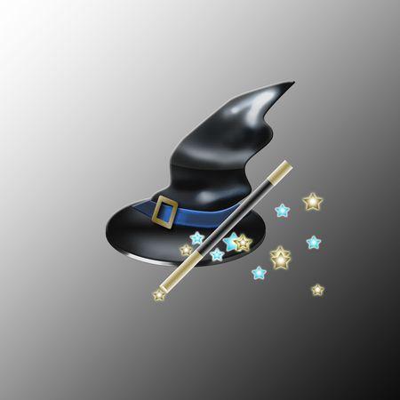 magic hat and magic wand Stock Photo - 7774814