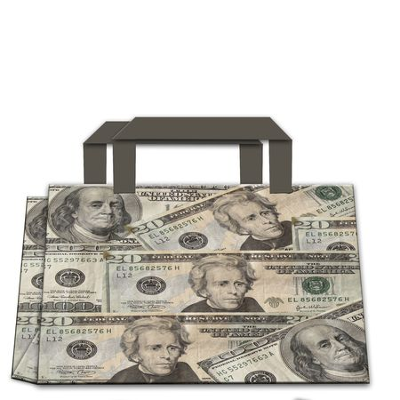 shopping bag made of dollars photo