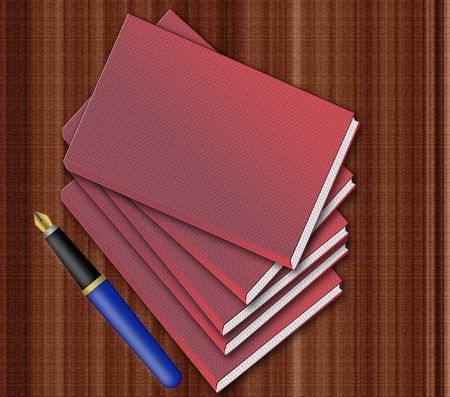 Fountain pen and blank notebooks isolated on wooden desk photo