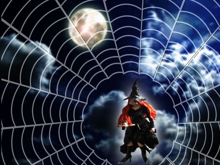 halloween night witch flying above the moon  photo